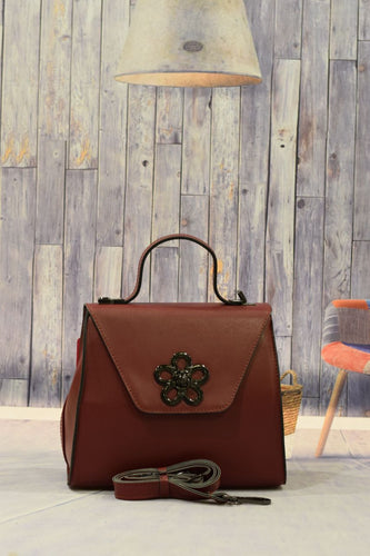 Dark Red Flower Handbag