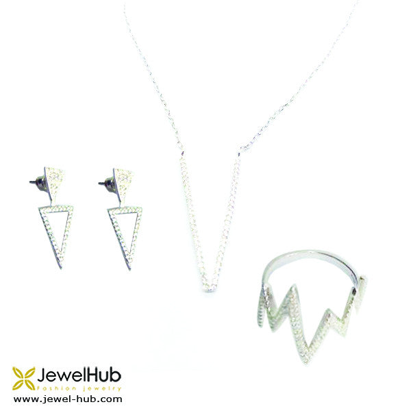 A set of sterling silver jewelry including a pair of earrings, a necklace and a heartbeat ring.