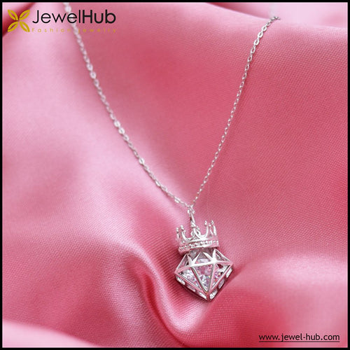 Big Crown Silver Necklace, Necklace - JewelHub jewelry