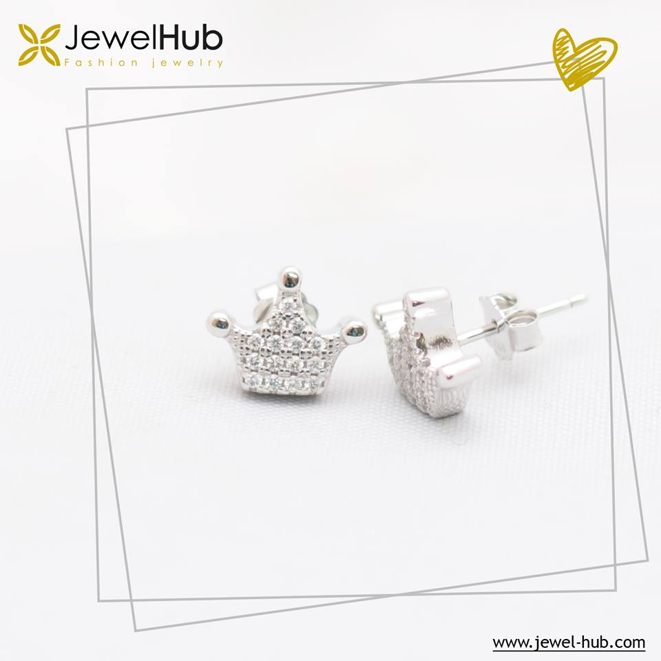 Simple Crown Silver Earrings