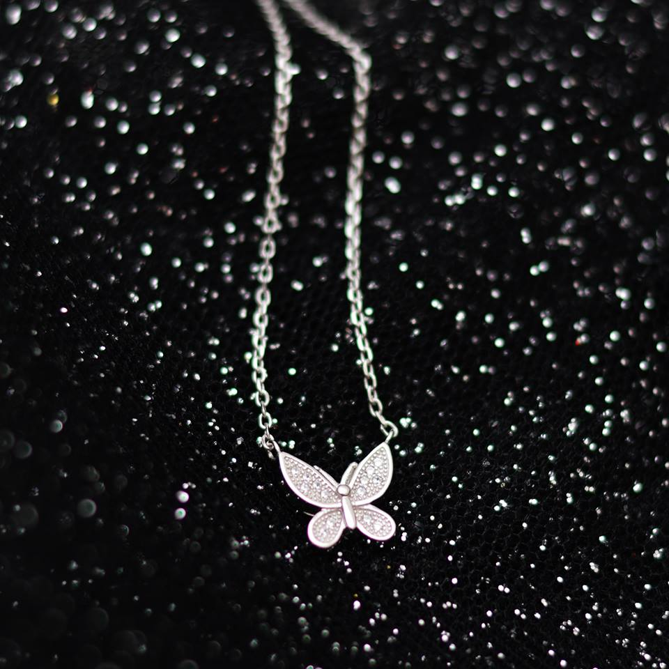 Simple Butterfly Silver Necklace