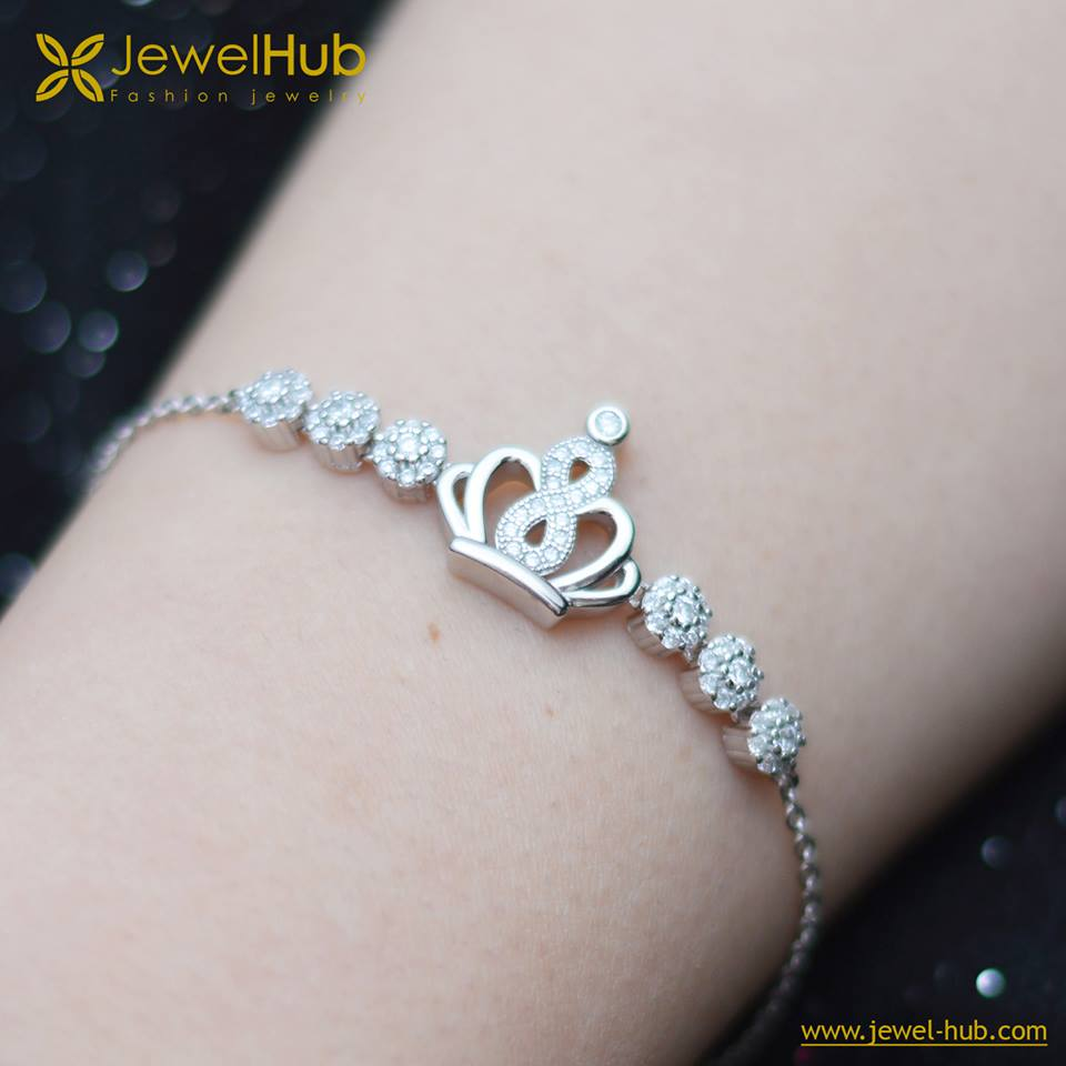 Simple Crown Silver Bracelet