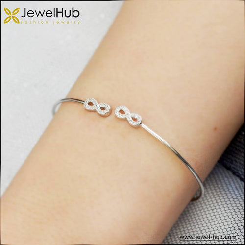 2 Infinity Silver Bangle, Bangle - JewelHub jewelry