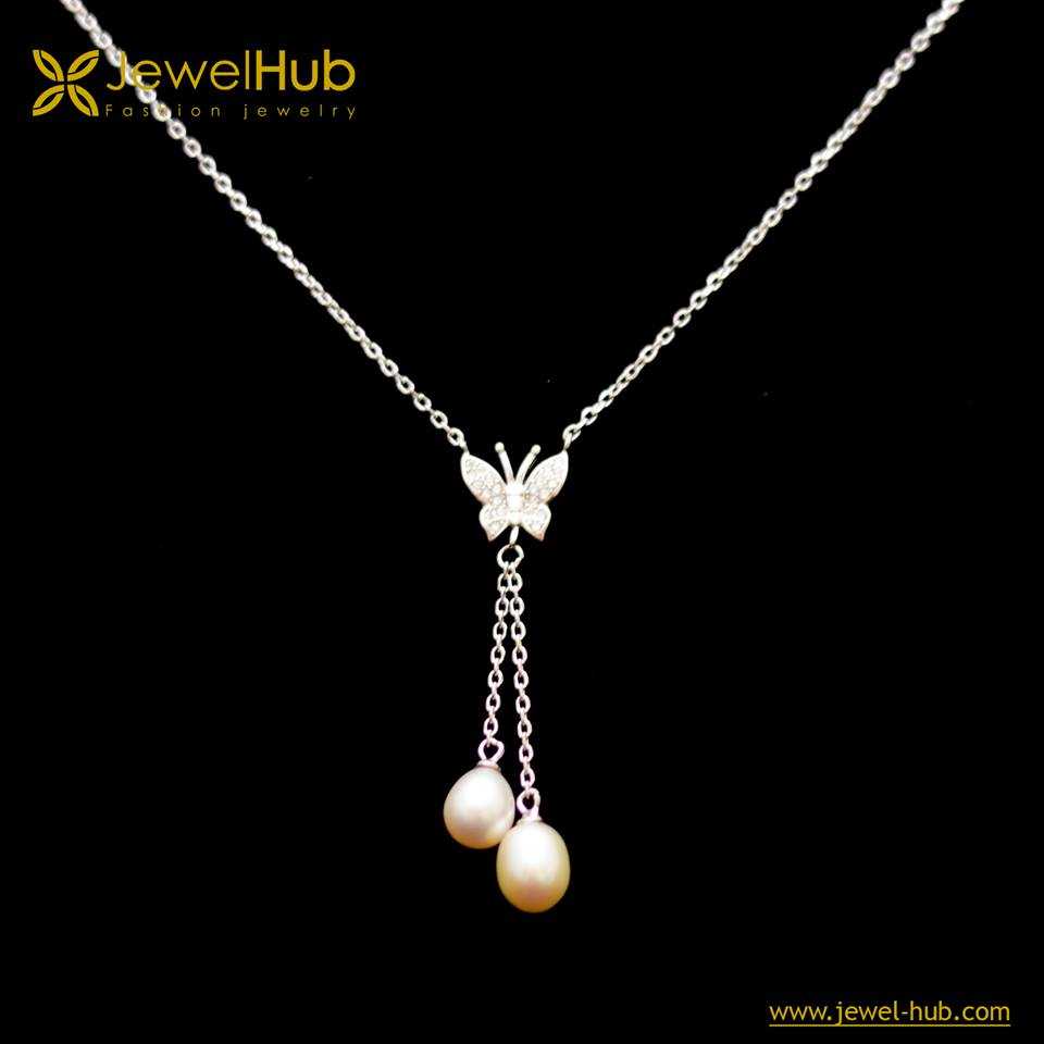 Butterfly Double Pearls Silver Necklace