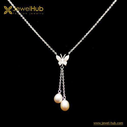 Butterfly Double Pearls Silver Necklace, Necklace - JewelHub jewelry