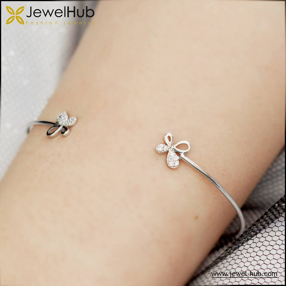 Butterflies Silver Bangle