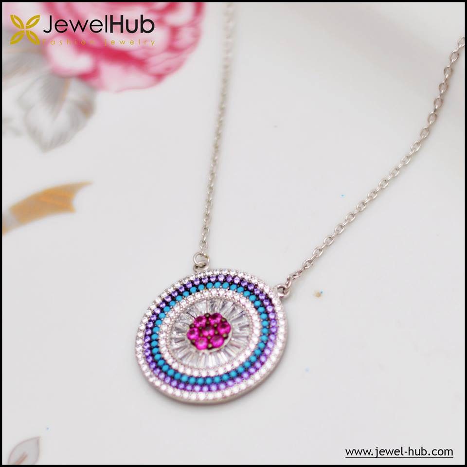 Colorful Circle Silver Necklace