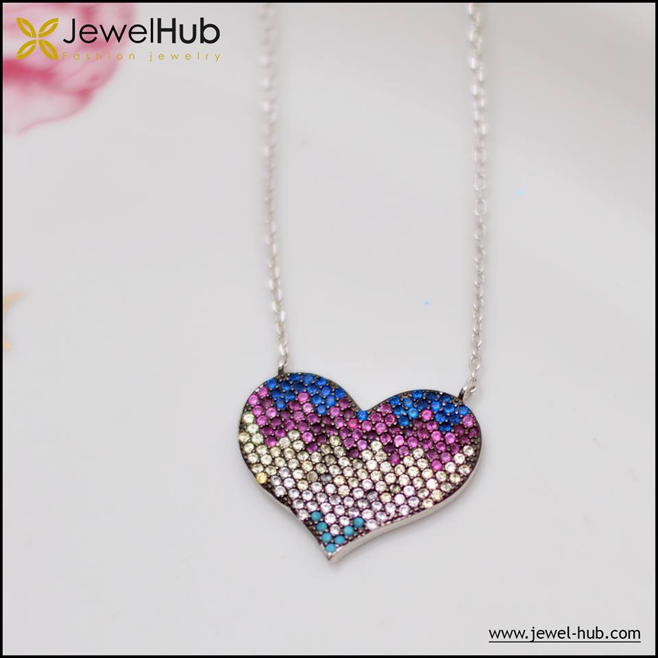 Colorful Heart Silver Necklace