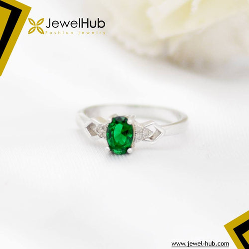 Simple Green Light Silver Ring