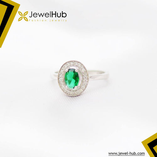 Round Green Silver Ring