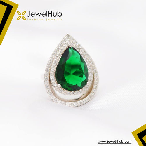 Green Tear Silver Ring