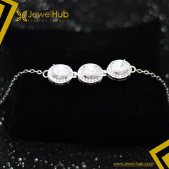 Three Diamonds Silver Bracelet