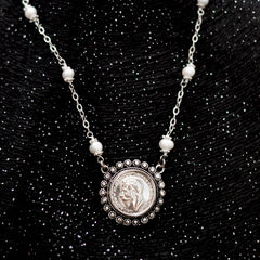 Historical Coin With Pearls Silver Necklace