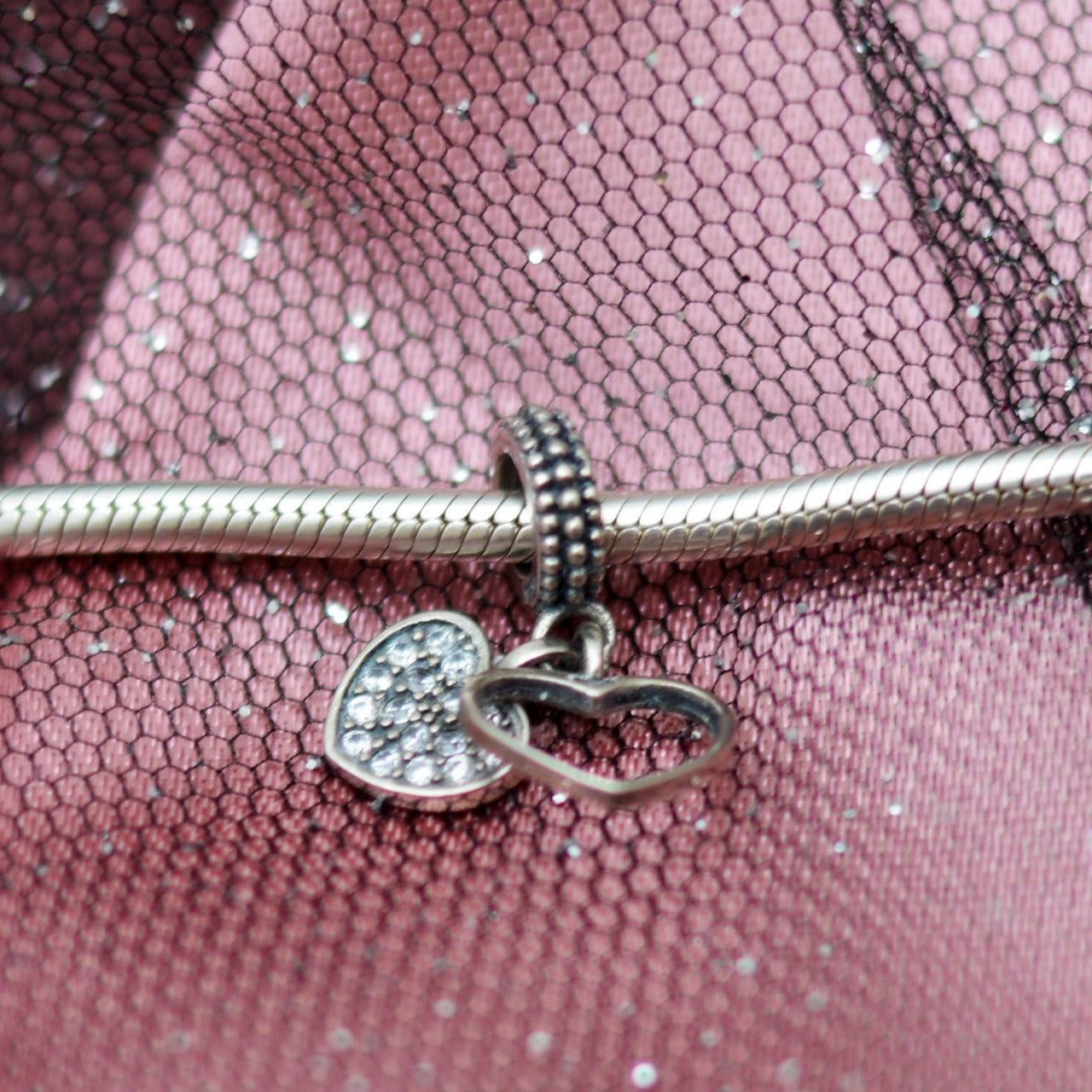 Lovely Hearts  Boho Silver Charm