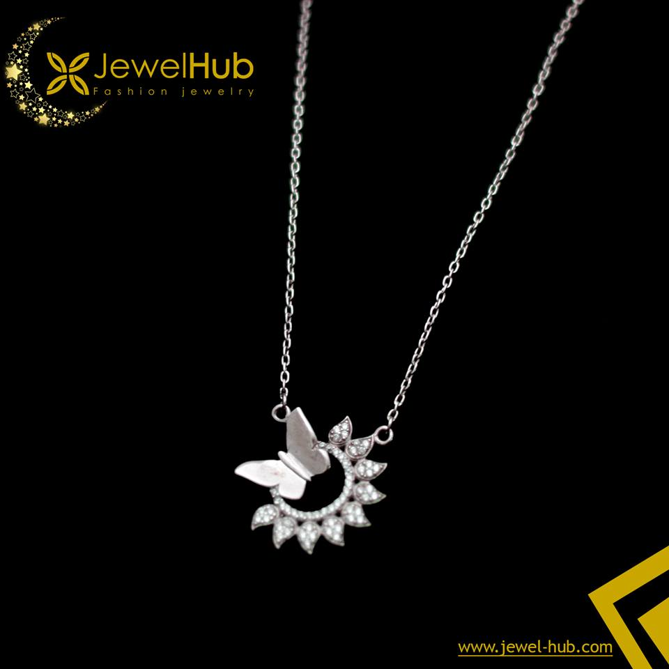 Sun With Butterfly Silver Necklace