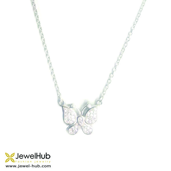 A silver necklace with twinkling butterfly.