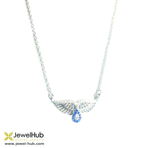A sterling silver 925 necklace with droplet and wing.