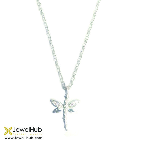 A butterfly necklace with embedded crystals.
