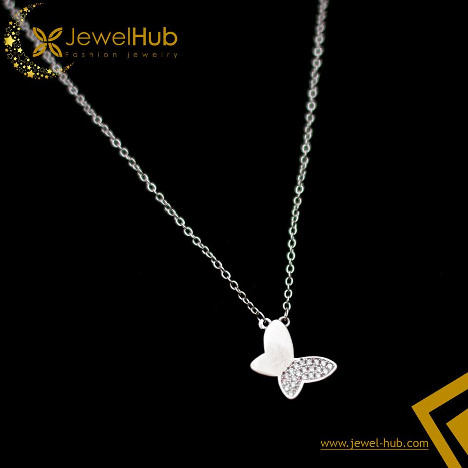 Cute Butterfly Silver Necklace