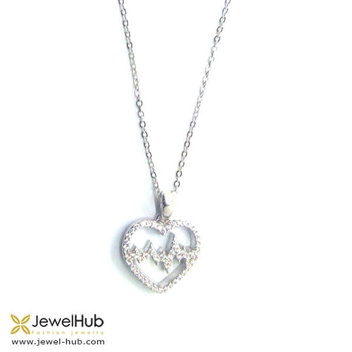 Twinkling heartbeat necklace with white crystals as perfect gifts.