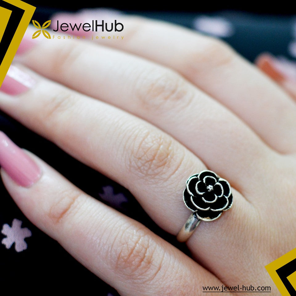 Black Flower Boho Silver Ring