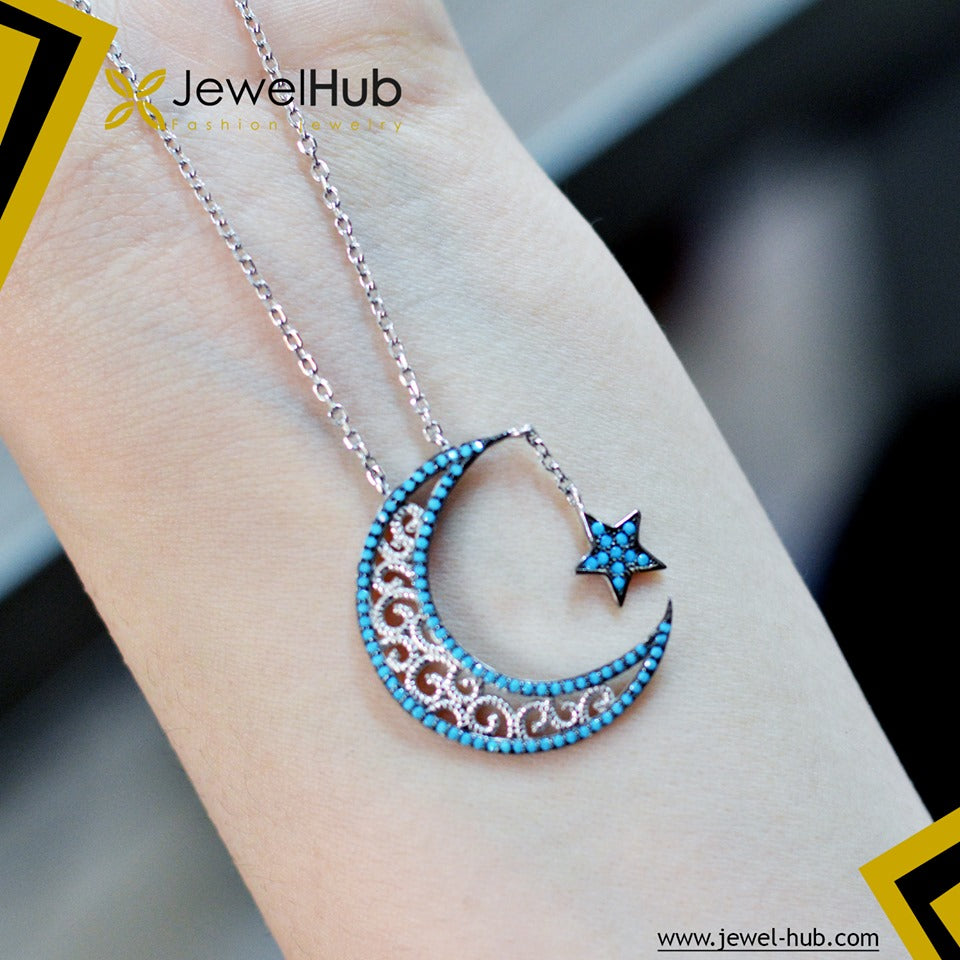Crescent & Star Nano Turquoise Necklace