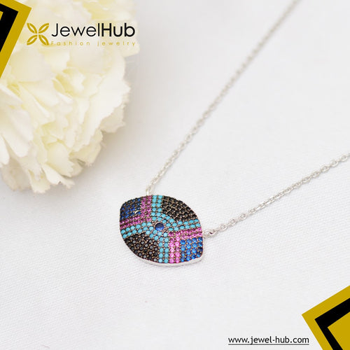 Eye Color Silver Necklace
