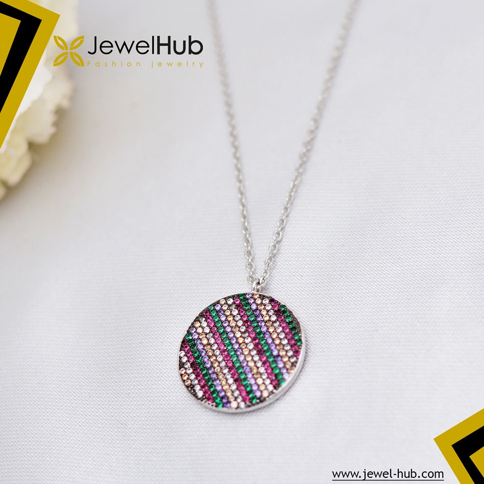 Colored Circle Silver Necklace