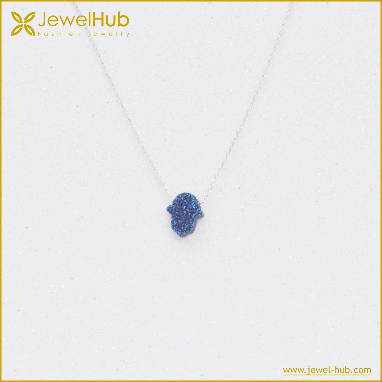 Blue Hamsa Silver Necklace