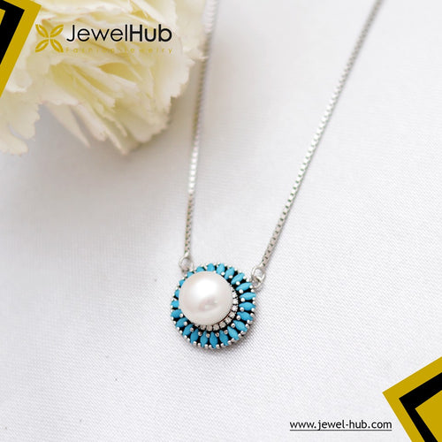 Nano Turquoise With Pearl Silver Necklace