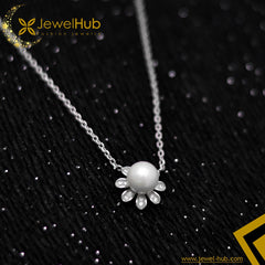 Flower With Pearl Silver Necklace