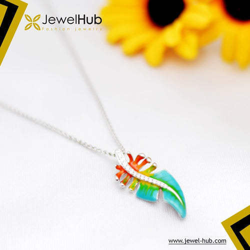 Colorful Feather Silver Necklace