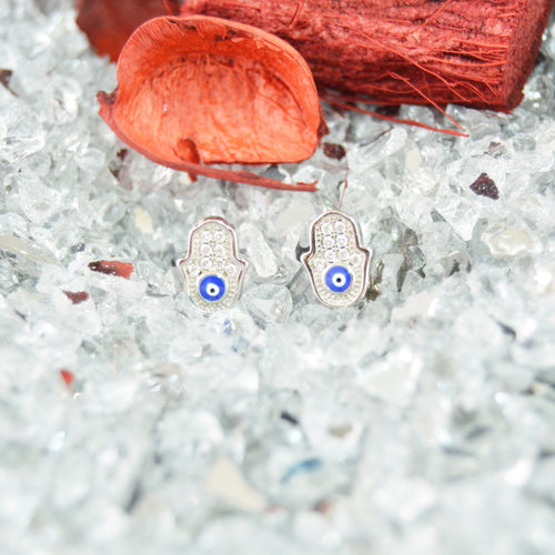 Palm With Blue Eye Silver Earrings, Earring - JewelHub jewelry