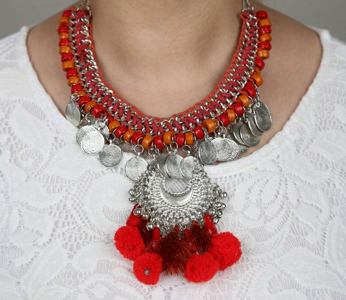 Handmade Statement Boho Indian Style Necklace - Red