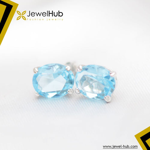 Aquamarine Big Size Silver Earrings