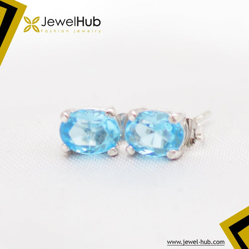 Aquamarine Middle Size Silver Earrings