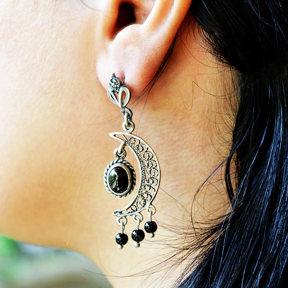 Crescent Arabic Silver Earrings