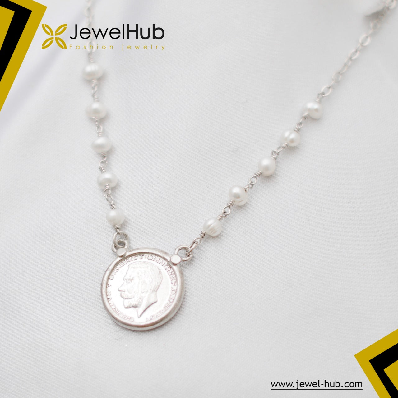 Fashionable Coin With Pearls Silver Necklace