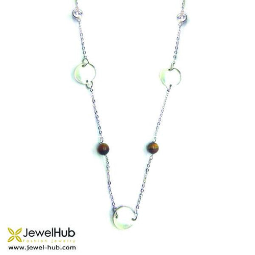 The elegant silver necklace with beads. A perfect gift.
