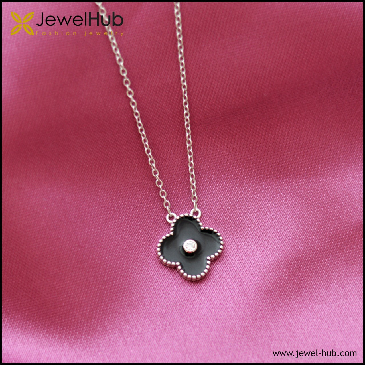 Black Flower Silver Necklace