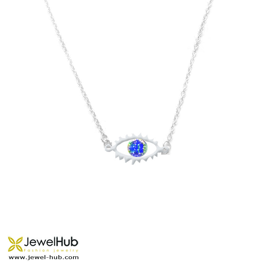 A small twinkling eye necklace with embedded blue and white crystals.
