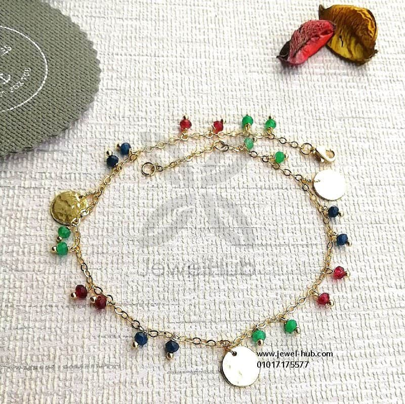 Simple hammered disc colorful bracelet/anklet