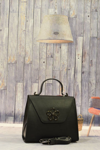 Black Flower Handbag