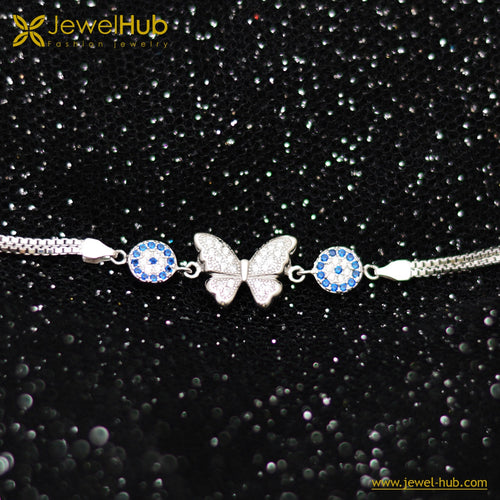 Butterfly With Eyes Silver Bracelet