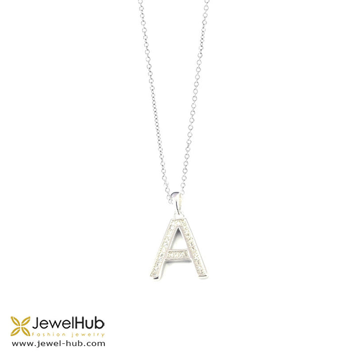 "Letter "" A "" Silver Necklace, Necklace - JewelHub jewelry"