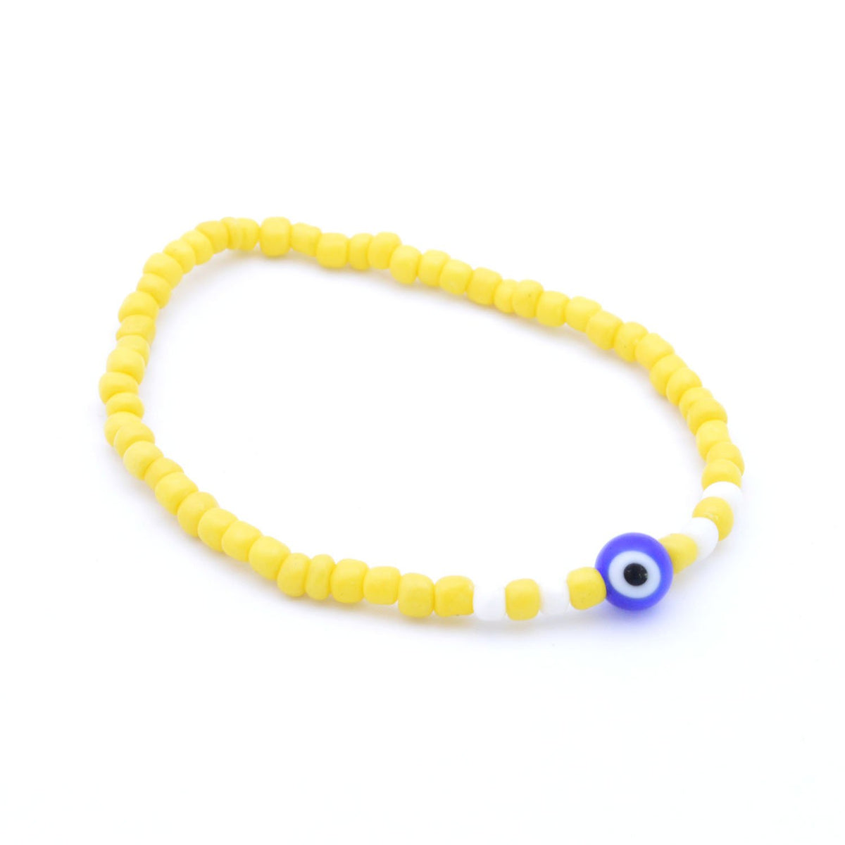 Blue Evil Eye Accessories Yellow Beads Bracelet, Bracelets - JewelHub jewelry