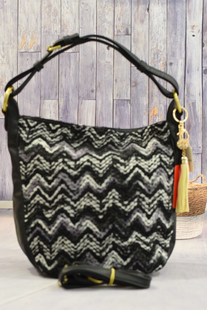 Tassels Multi Color Black Handbag