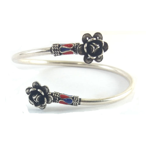 Indian Flower Silver Bangle