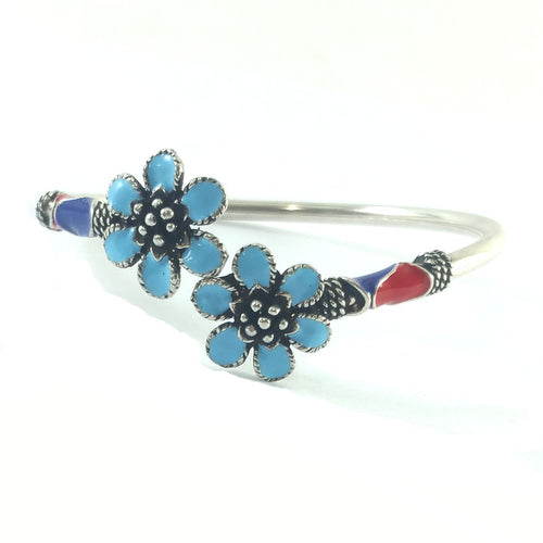 Light Blue Flower Boho Bangle, Bracelets - JewelHub jewelry