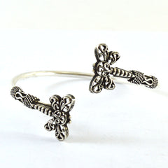 Double Insects Silver Boho Bangle